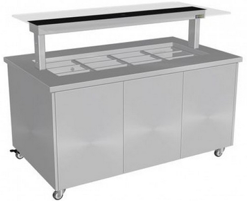 Culinaire 6 PAN HOT FOOD BAR WITH FLAT SELF SERVE GLASS  Stainless top and panels