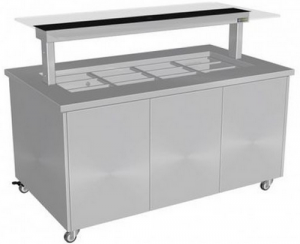 Culinaire 3 PAN HOT FOOD BAR WITH FLAT SELF SERVE GLASS  Stainless top and panelS