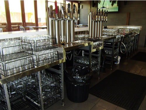 Commercial Bar behind With Beer Station & Glass Racks
