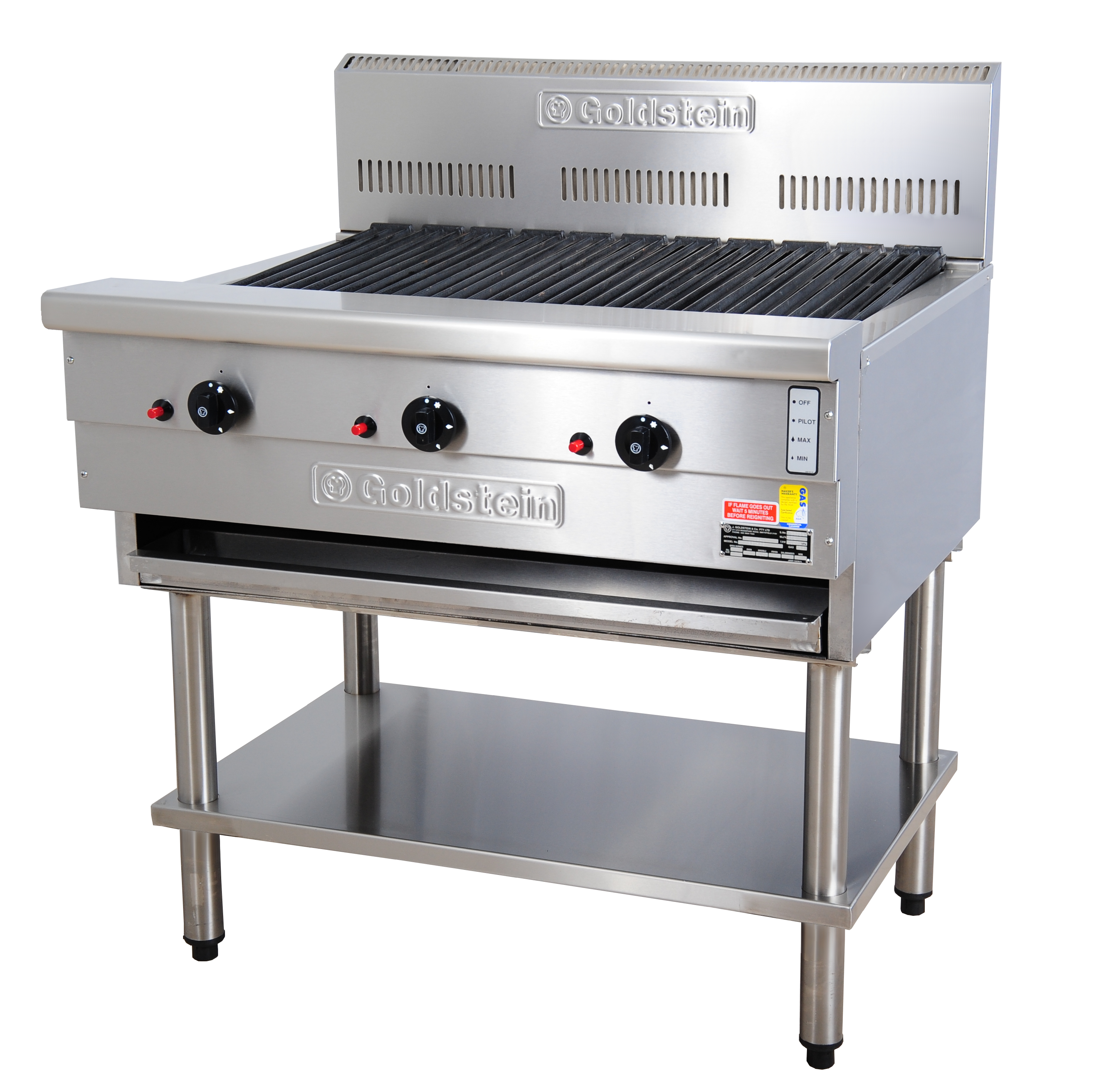 Goldstein 800 series 915mm Wide Gas CharGrill on Stand