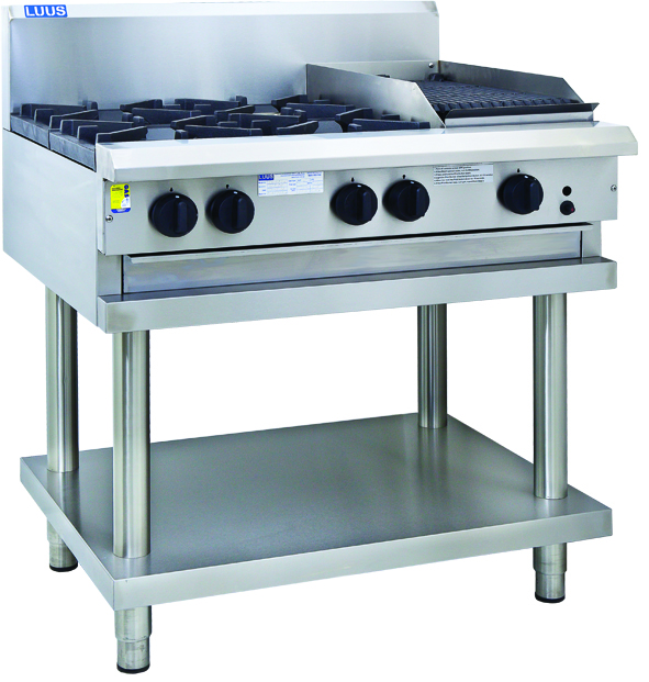 LUUS 2 X OPEN BURNER COOKTOP 300 GRILL WITH SHELF