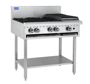 LUUS 2 OPEN BURNER COOKTOP 300 BBQ WITH SHELF