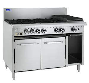 LUUS 4 OPEN BURNER, 300mm BBQ WITH GAS OVEN RANGE