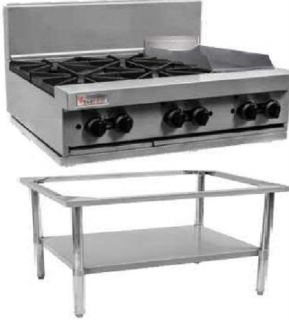Trueheat 4 Open Burner & 300mm Griddle Gas Cooktop 900mm Wide On Stand