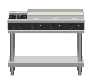 Waldorf Bold 6 x Burner & 300mm Griddle Gas Cooktop - Leg Stand