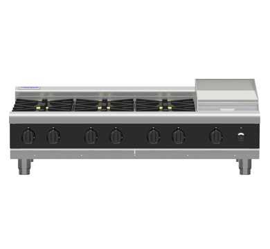 Waldorf Bold 1200mm 8 x Burner Gas Cooktop - Bench Model