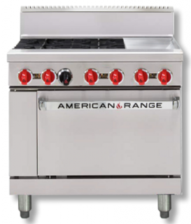 Amercian Range 36in' Gas Oven Range with 4 Burners & Griddle