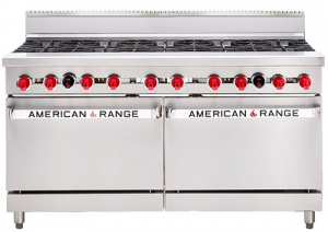 Amercian Range 60in' Double Gas Oven Range with 6 Burners & Griddle
