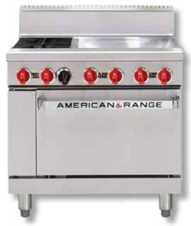 Amercian Range 36in' Gas Oven Range with 2 Burners & Griddle