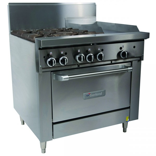 Garland 4 Open Burner & Griddle Gas Convection Oven Range 900mm