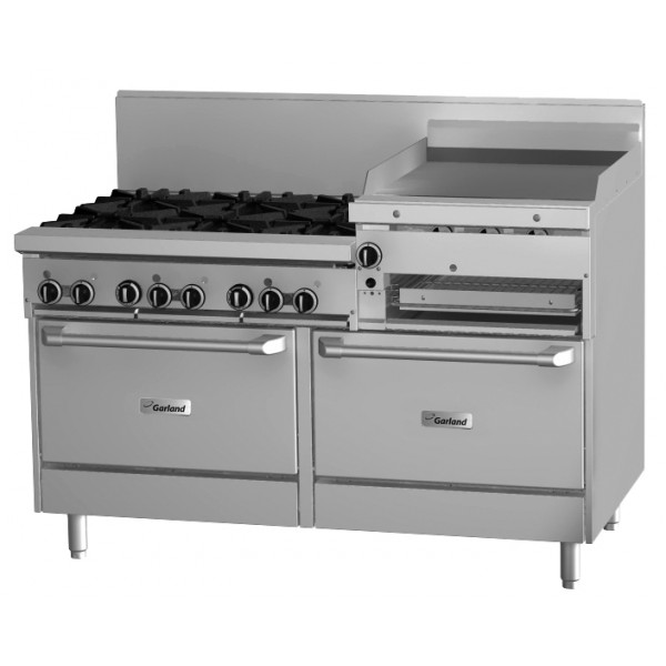 Garland 1500mm 6 Burner & Raised Griddle Top & Double Gas Oven Range