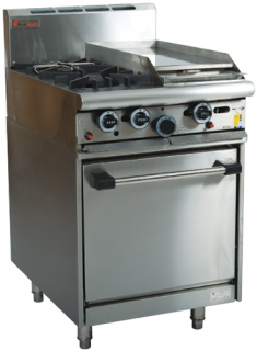 Trueheat two open burner with 300mm griddle plate gas static Oven Range 600mm Wide