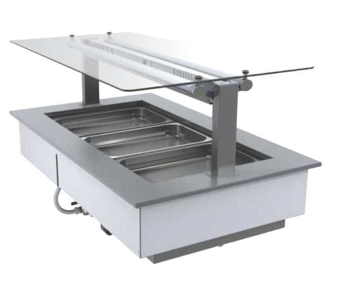 FPG 3 PAN HOT FOOD BAR WITH FLAT SERVE OVER GLASS