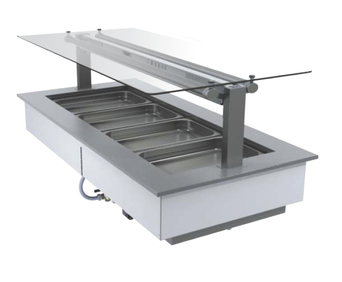 FPG 4 PAN HOT FOOD BAR WITH FLAT SERVE OVER GLASS