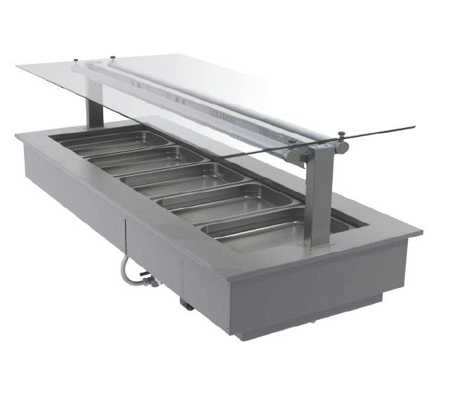 FPG 5 PAN HOT FOOD BAR WITH FLAT SERVE OVER GLASS