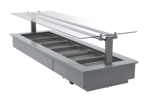 FPG 6 PAN HOT FOOD BAR WITH FLAT SERVE OVER GLASS