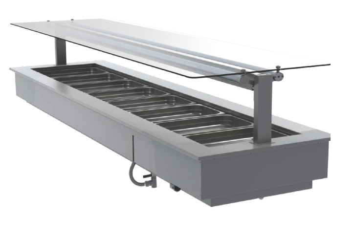 FPG 8 PAN HOT FOOD BAR WITH FLAT SERVE OVER GLASS