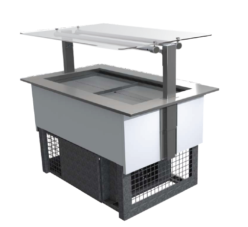 FPG 3 PAN COLD FOOD BAR WITH FLAT SERVE OVER GLASS