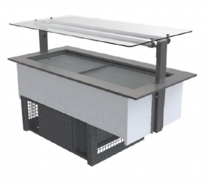 FPG 4 PAN COLD FOOD BAR WITH FLAT SERVE OVER GLASS