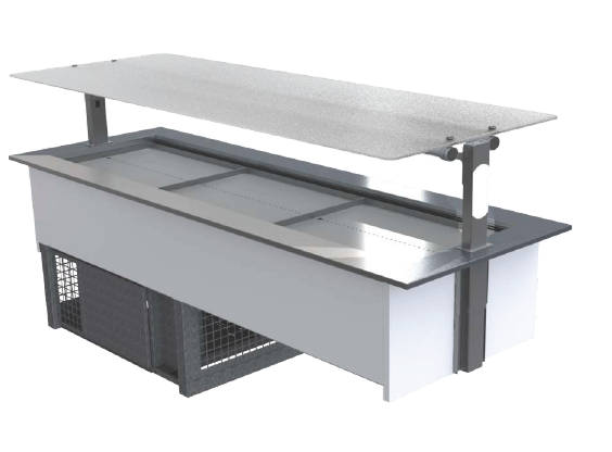 FPG 5 PAN COLD FOOD BAR WITH FLAT SERVE OVER GLASS