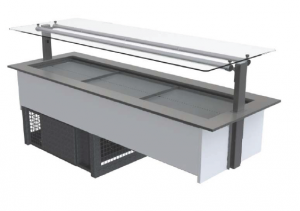 FPG 6 PAN COLD FOOD BAR WITH FLAT SERVE OVER GLASS