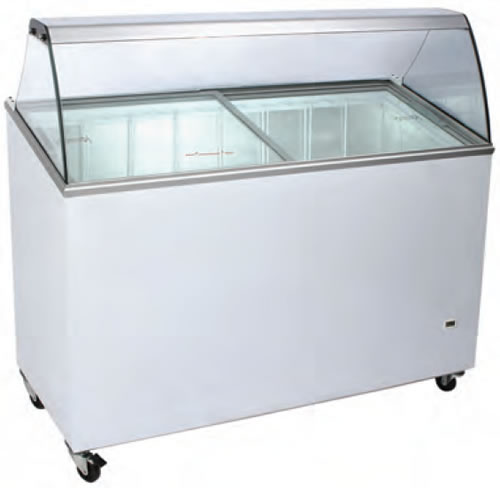 Bromic 7 Tub Scoop Ice Crean Freezer with curved Glass Angle Top - Slim