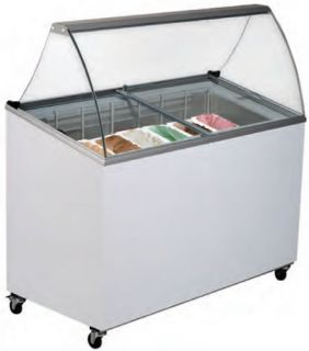 Bromic 7 Tub Scoop Ice Crean Freezer with curved Glass Angle Top