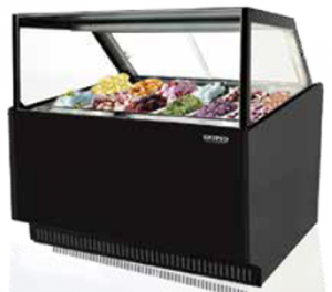 Skipio 12 pan Gelato display Square Glass Black