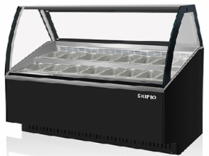 Skipio 16 pan Gelato display Black finish