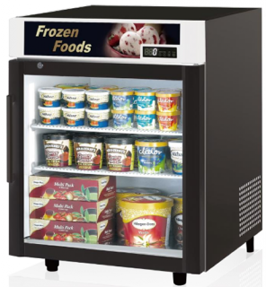 Skipio single glass door counter top Display Freezer Black