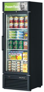 Skipio single glass door upright display Freezer Black