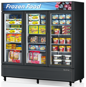 Skipio triple glass door upright Freezer Black