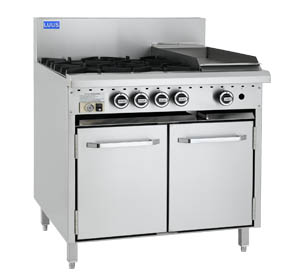LUUS 4 OPEN BURNER, 300mm GRILL WITH GAS OVEN RANGE