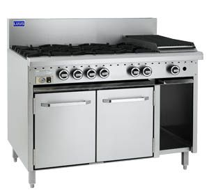 LUUS 6 OPEN BURNER, 300mm GRILL WITH GAS OVEN RANGE