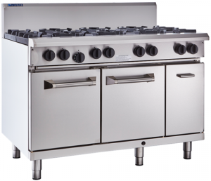 LUUS PRO 8 OPEN BURNER WITH GAS OVEN RANGE