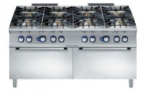 Electrolux Professional 900XP 8 gas burner range on double gas ovens