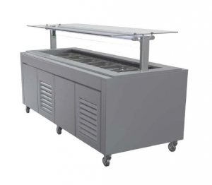 FPG 6 PAN HOT FOOD BAR WITH FLAT SELF SERVE GLASS