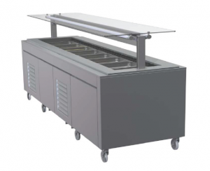FPG 8 PAN HOT FOOD BAR WITH FLAT SELF SERVE GLASS