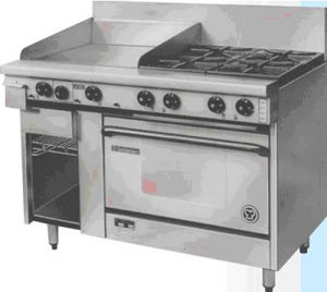 Goldstein 4 open burner with 610mm Griddle gas Convection Oven Range