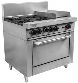 Trueheat four open burner with 300mm griddle plate gas static Oven Range 900mm Wide