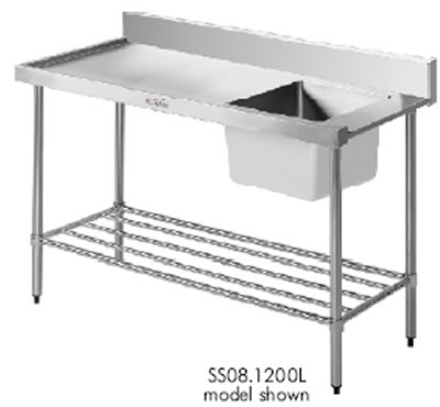 Simply Stainless <br />1200mm x 700mm Left Hand Feed Single Bowl Dishwasher Inlet Bench