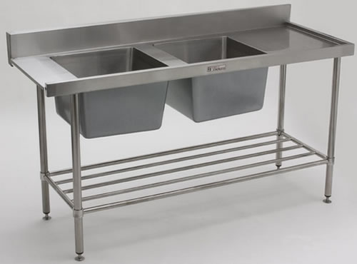Simply Stainless <br />1650mm x 600mm Left Hand Feed Double Bowl Dishwasher Entry Bench