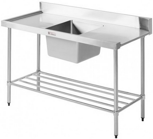 Simply Stainless <br />1200mm x 600mm Left Hand Feed Single Bowl Dishwasher Inlet Bench