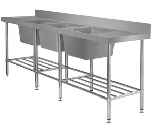 Simply Stainless Triple Sink Bowl Bench 600mm Deep