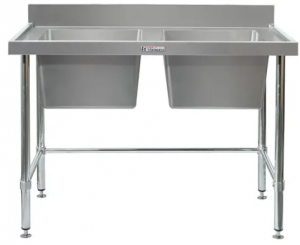 Simply Stainless Double Sink Bench with Splashback & Leg Brace