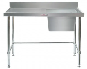 Simply Stainless Single Sink Bench Right Bowl & Leg Brace 1200w x 600d