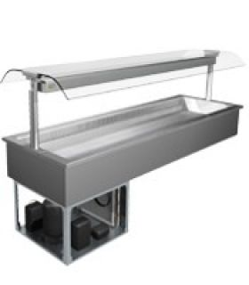 Cossiga Linear 2 Pan Drop In Self Serve Refrigerated Salad bar Display