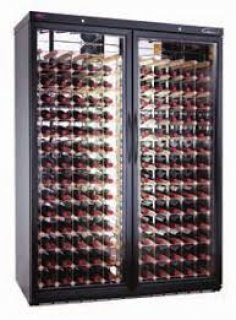 Williams Double Glass Door Refrigerated Wine Cabinet Diamond Racking