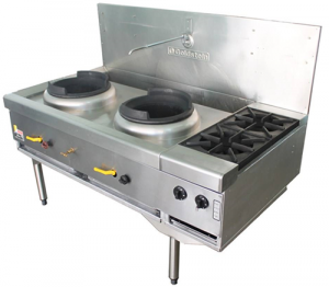 Goldstein Double Burner Wok Cooker with two end Burners