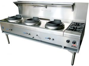 Goldstein 3 Ring Burner Wok Cooker with 2 end Burners